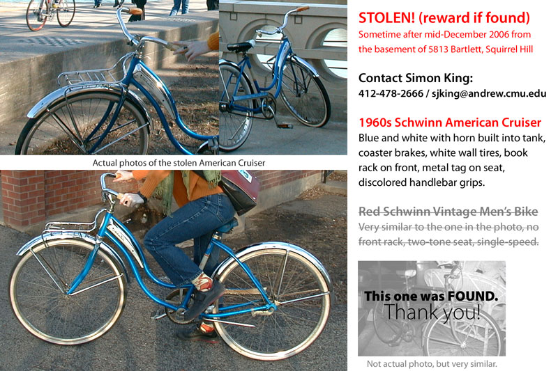 Photos and information on stolen bikes